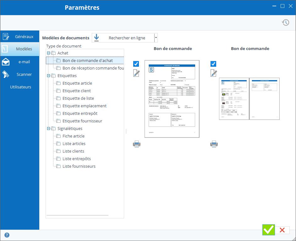 Paramètres des modèles de documents
