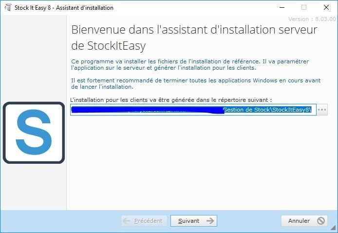 Installation de Stock It Easy - choix du répertoire de référence
