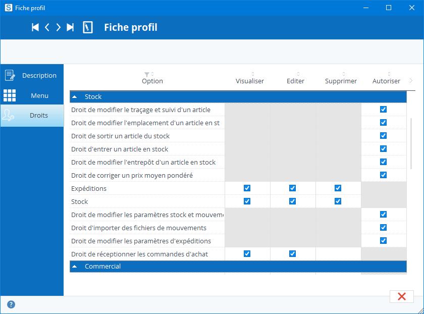 sélection des droits du profil